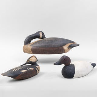 Three American Painted Wood Duck Decoys