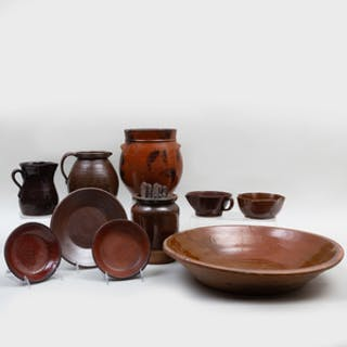 Group of Ten American Redware Pottery Tablewares