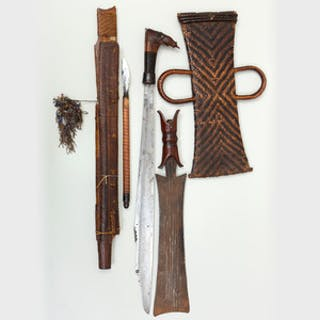 Tikar Metal, Wood and Woven Fiber Sword and Sheath, Cameroon