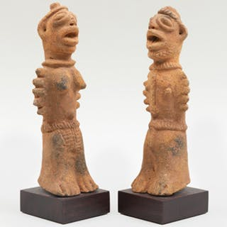 Pair of Koma Terracotta Standing Figures, Ghana