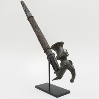 Grassfields Bronze Pipe on Stand, Cameroon