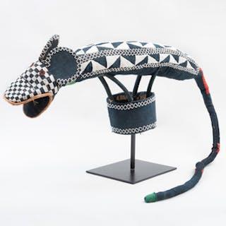 Bamileke Cloth and Beaded Leopard Headdress, Cameroon