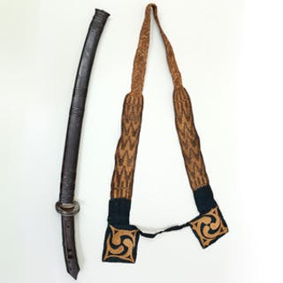 Japanese Sword and Carved Hardwood Sheath