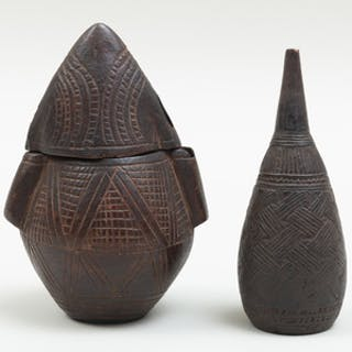 Zaire Carved Wood Powder Flask and an Enema Bottle, Democratic Republic