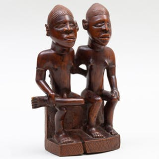 Yoruba Wood Carving of a Seated Couple, Democratic Republic of the Congo