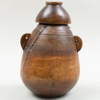 East African Carved Wood Milk Container