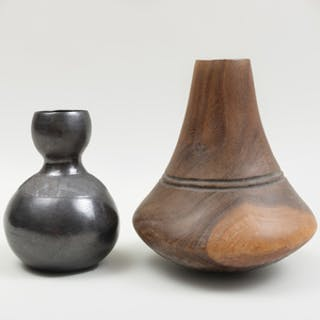 Ugandan Burnished Blackware Pottery Gourd Vessel