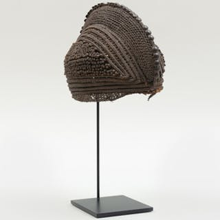 West African Woven Fiber Cap on Stand, possibly Mbala