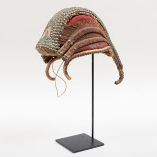 West African Cloth and Woven Fiber Cap with Brass Studs
