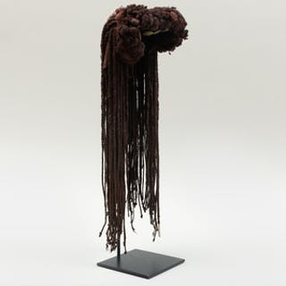 African Braided Woven Fiber and Beaded Ceremonial Headdress, possibly Mossi
