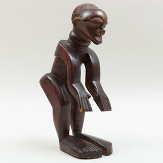 Rare Songye Carved Wood Power Figure, Democratic Republic of the Congo