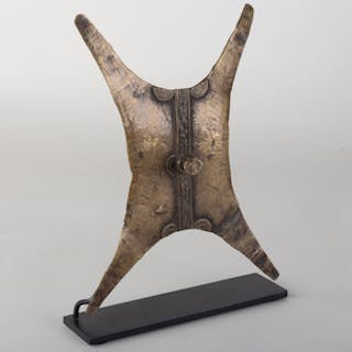West African Brass Shield Shaped Ornament