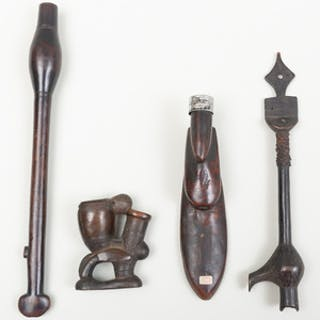 Three African Wooden Pipes
