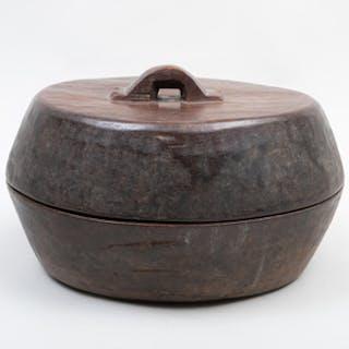 Large Yoruba Wooden Lidded Vessel, Nigeria