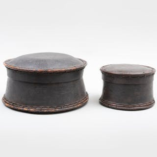 Two Southeast Asian Painted Lidded Cylindrical Bark Boxes