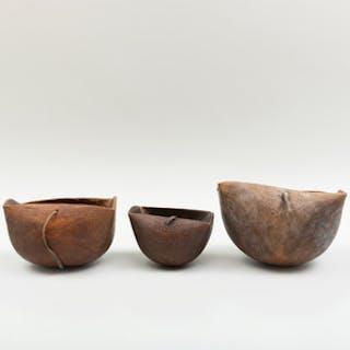 Group of Three Kenyan Wood Milk Vessels