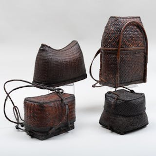 Group of Three Southeast Asian Woven Covered Baskets, probably Ifugao