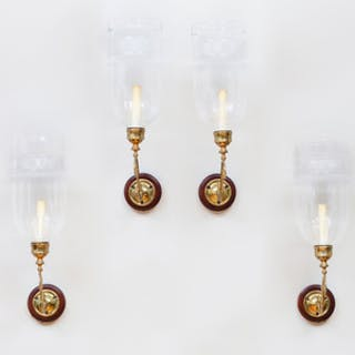 Set of Four Brass and Mahogany Single-Light Sconces