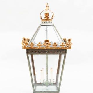 English Verdigris Painted Metal and Parcel-Gilt Hall Lantern