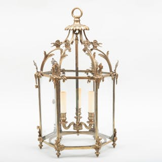 Small Louis XV Style Gilt-Bronze Three-Light Hall Lantern