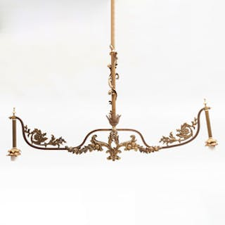 Victorian Gilt-Bronze Two-Light Billiards Light