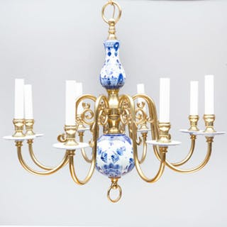 Flemish Brass-Mounted Blue and White Porcelain Eight-Light Chandelier