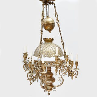Napoleon III Gilt-Bronze, Metal and Glass Fifteen-Light Chandelier