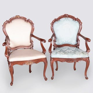 Two Similar Italian Rococo Style Stained Wood Armchairs