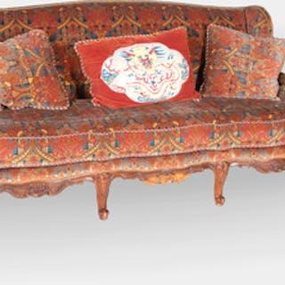 Régence Style Fruitwood Upholstered Canapé à L'Oreille
