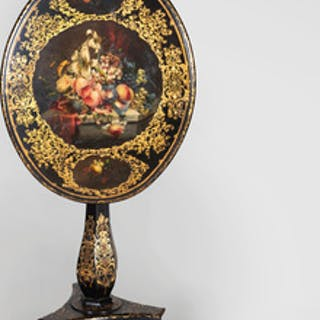 Victorian Black and Polychrome Painted and Parcel-Gilt Tilt-Top Table