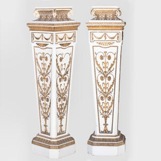 Pair of Louis XVI Style Painted and Parcel-Gilt Pedestals