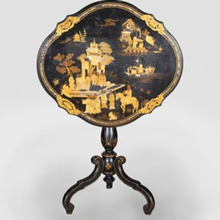 Victorian Mother-of-Pearl, Black Lacquer and Parcel-Gilt Tilt-Top Table
