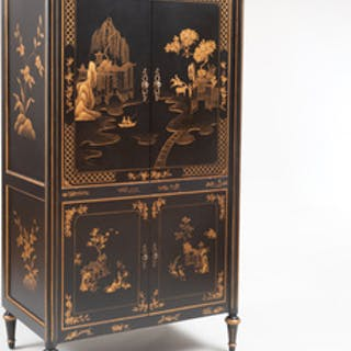 Victorian Style Black Lacquer and Parcel-Gilt Cabinet, 20th Century