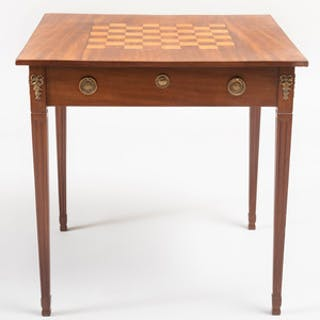 Continental Neoclassical Inlaid Mahogany and Fruitwood Games Table