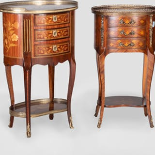 Two Louis XV/XVI Style Kingwood and Tulipwood Marquetry Tables en Chiffonnière