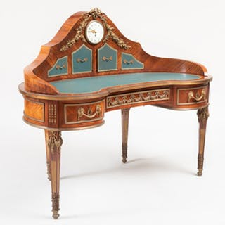 Unusual Louis XVI Style Ormolu-Mounted Kingwood Kidney-Shaped Desk