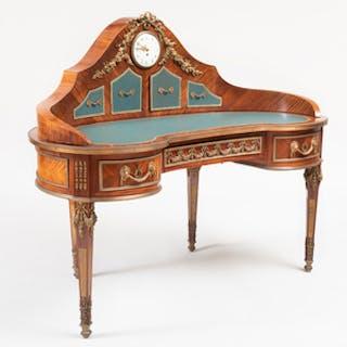 Unusual Louis XVI Style Ormolu-Mounted Kingwood Kidney-Shaped Desk