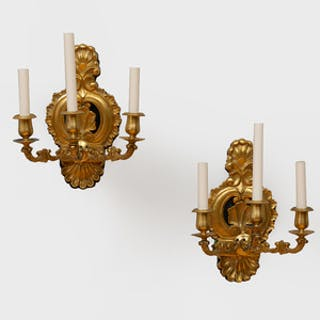 Pair of Continental Rococo Style Gilt-Bronze Three-Light Sconces