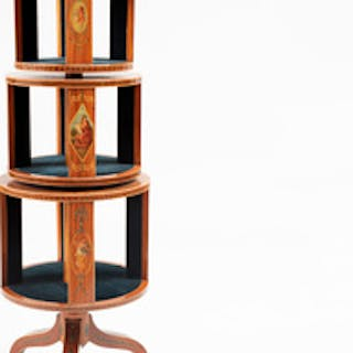 Edwardian Style Painted Satinwood Three-Tiered Revolving Bookstand