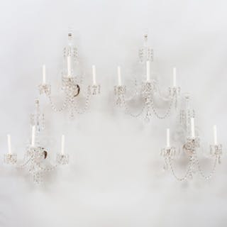 Four George III Style Three-Light Crystal Sconces