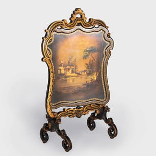 Victorian Black and Polychrome Painted and Parcel-Gilt Double-Sided Firescreen