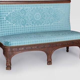 Napoleon III Oak Cut-Velvet Upholstered Banquette