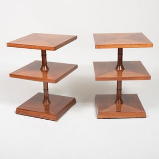 Pair of Art Deco Mahogany Three-Tiered Side Tables