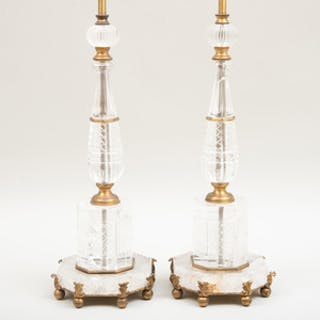 Pair of Baroque Style Gilt-Bronze and Rock-Crystal Table Lamps