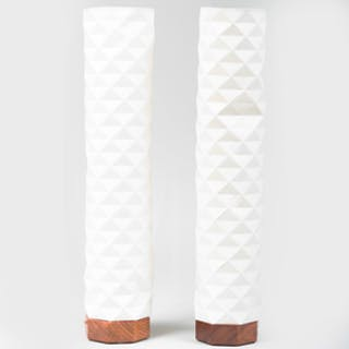 Pair of Ramon Valls Parchment and Wood Vestal Table Lamps