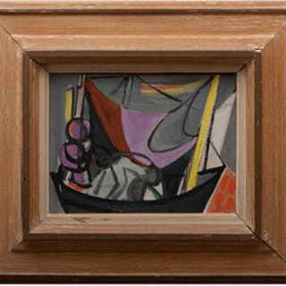 Edouard Pignon (1905-1993): Abstract Sailboat with Two Figures