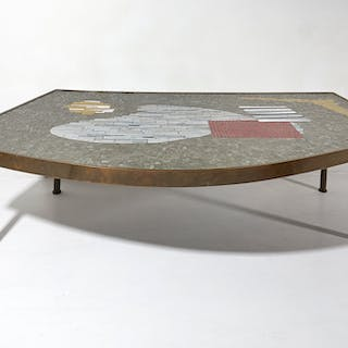 Large Brass and Mosaic Coffee Table by Berthold Müller 1950s | dicksonrendall