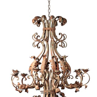 Rare extra large ornate ten branch iron chandelier | dicksonrendall