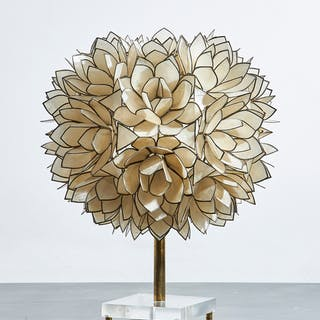Flower Lamp, blossoms of Mother of Pearl on Metal Frame | dicksonrendall