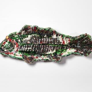 Large unusual glazed faience fish | dicksonrendall